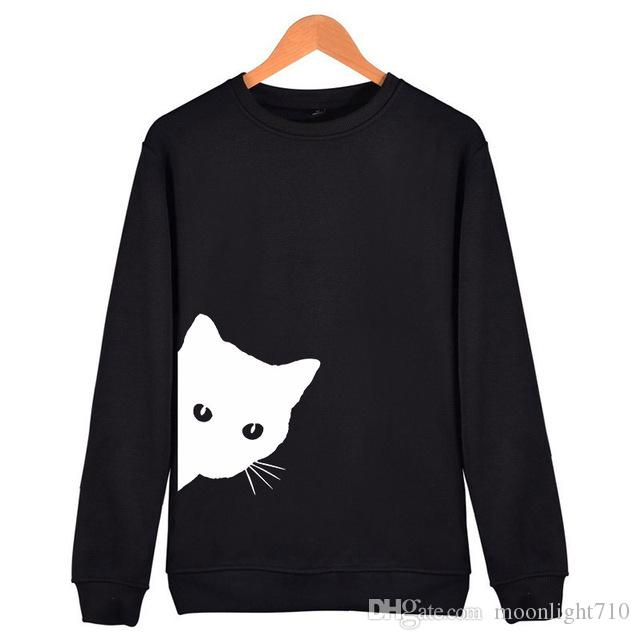 17716f227ff Cat Looking Out Side Print Women Sweatshirts Casual Hoodies For Lady Girl  Funny Hipster Jumper Drop Ship SW-7 Online with  39.01 Piece on  Moonlight710 s ...