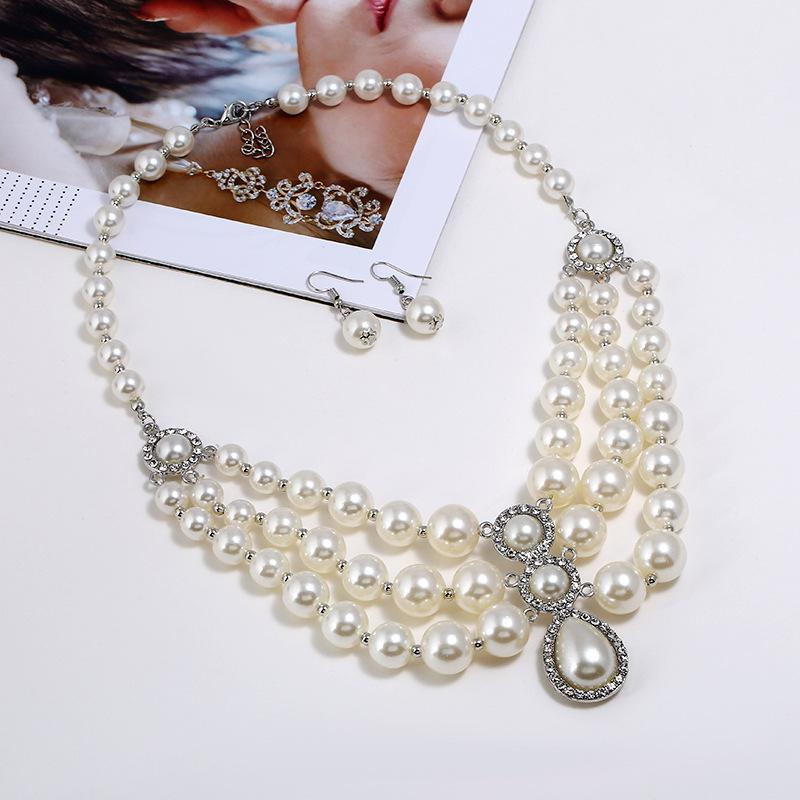 c23f6fbab Wholesale Necklace Earrings Jewelry Set Women Multi Layers Pearl Pendants  Short Crystal Choker Necklace Girls Collar Necklace Wedding Party Jewelry  ...