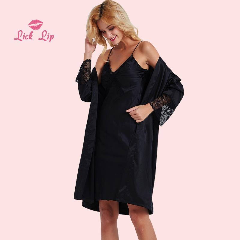 3998142a389 Lick Lip Sexy Black Home Suit Satin Kimono Robe Women Deep V-Neck ...