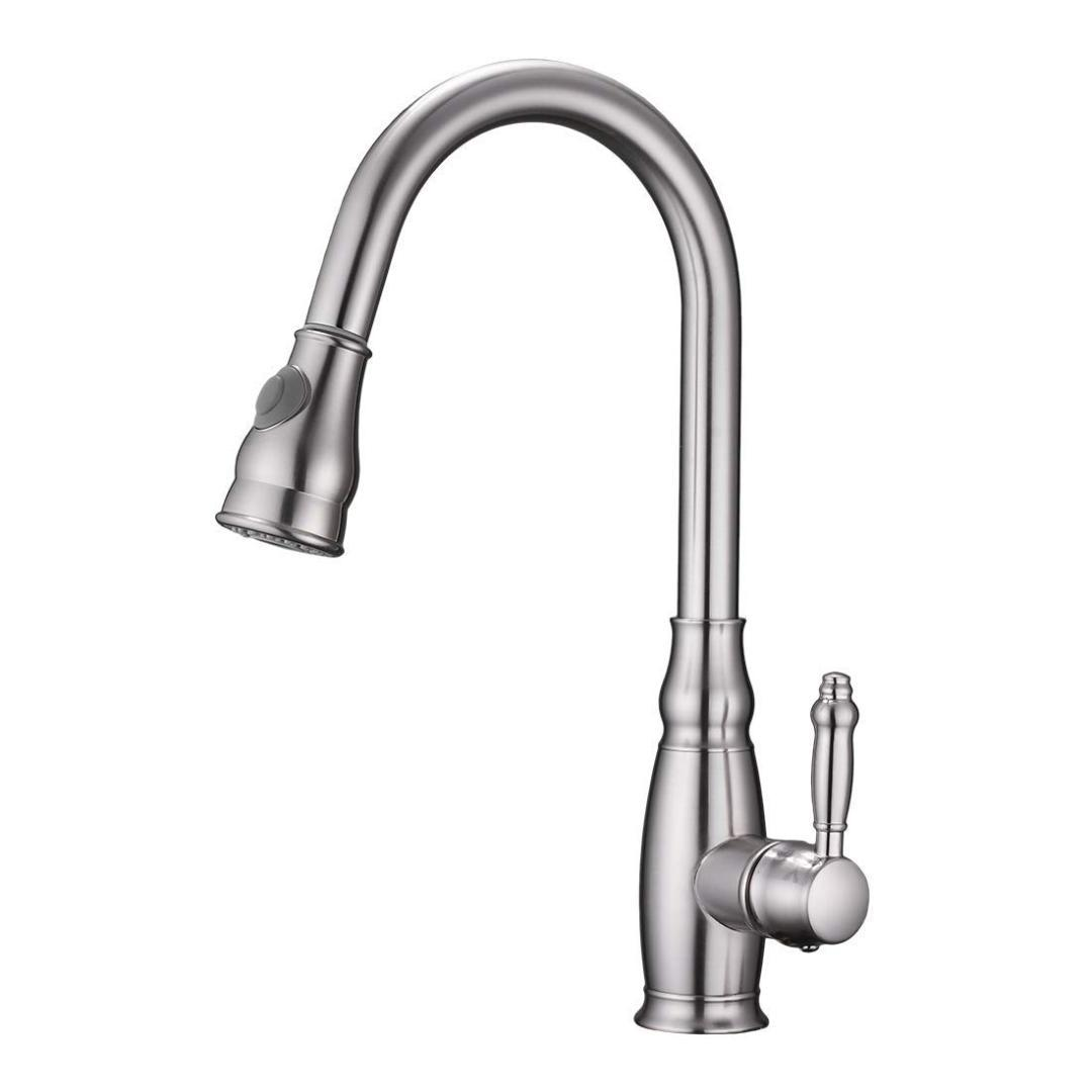 High Arch Brass Single Handle Brushed Nickel Pull Down Sprayer