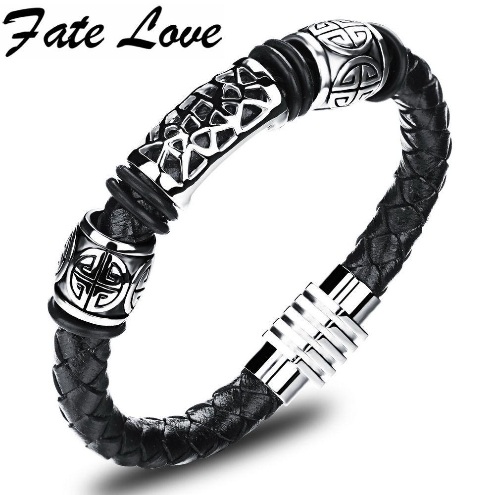 Bracelet en Cuir Hommes Bracelet TRESSEE CUIR DE VACHETTE avec Acier Inoxydable autiga ®