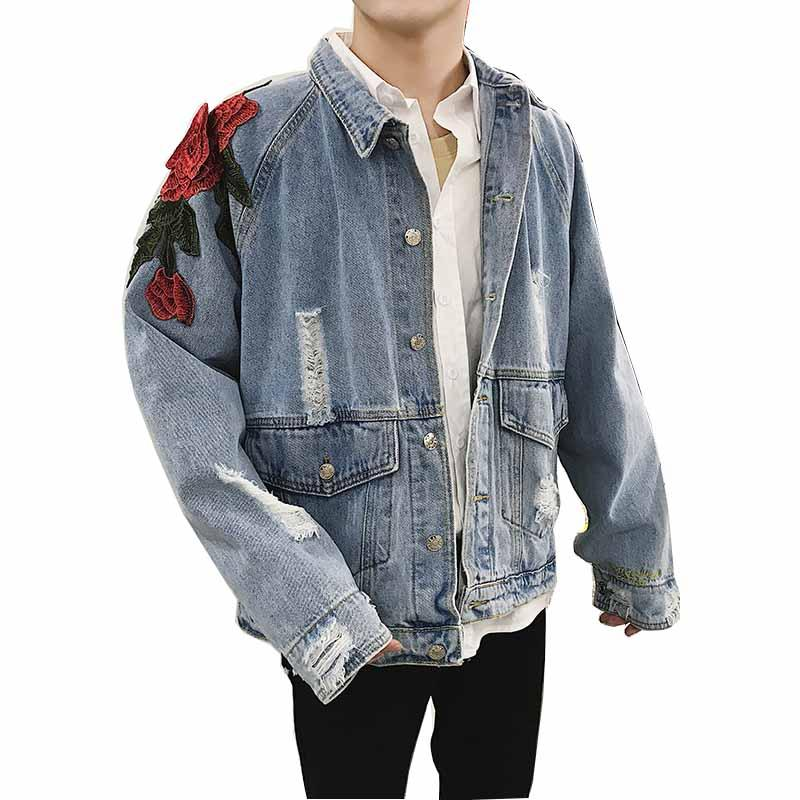 8e91f2e3544 Mcikkny Men S Hip Hop Jean Jackets Embroidery Rose Flowers Loose Denim  Jackets Turn Down Collar Streetwear Coats For Male Washed Cbj Hockey Team  Cool Mens ...