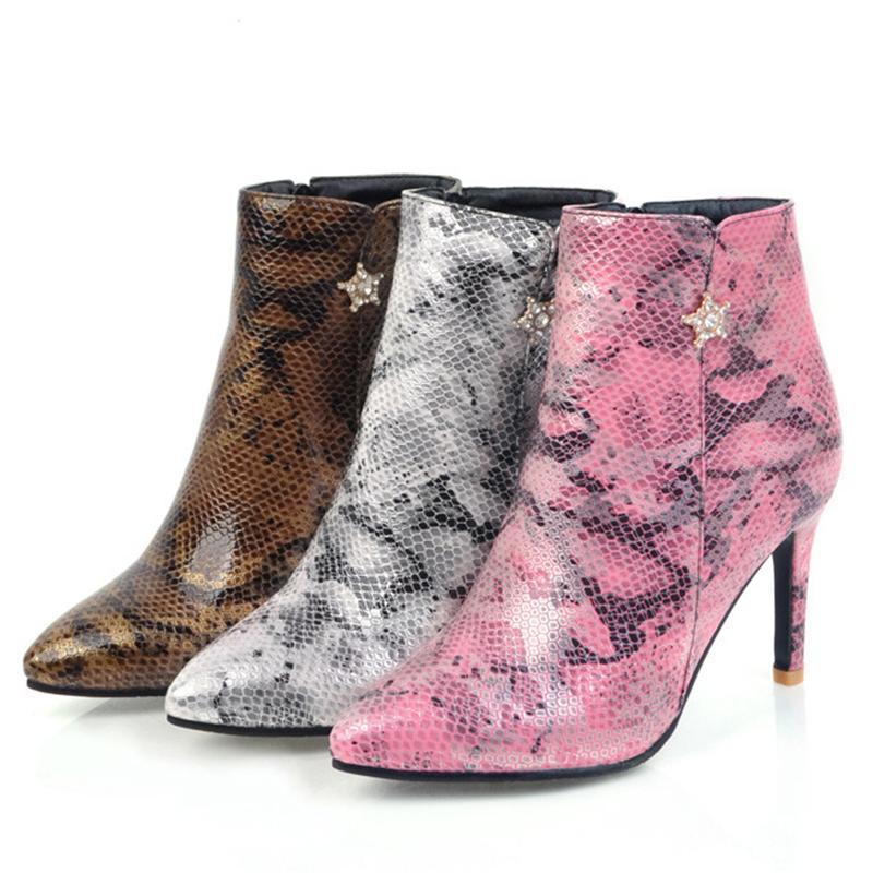 024c3f6043 Women Spring Autumn Snakeskin Pattern Ankle PU Boots Zipper Pointed Toe  Super Thin High Heels Sexy Booties Size 34 39 6O0314 Mens Shoes Mens Boots  From ...
