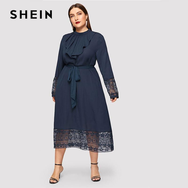 841636e983 SHEIN Navy Women Plus Size Elegant Contrast Lace Belted Ruffle Trim Maxi  Dress Women Stand Collar Long Sleeve Dresses Clothing Dress Cocktail Dress  Party ...