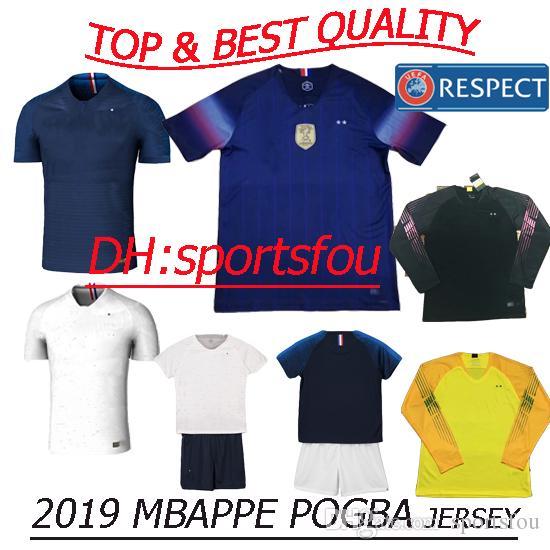 designer fashion cfa28 5e79c Thailand 2019 soccer Jersey kids kit pogba 2018 World Cup jerseys PAYET  DEMBELE MBAPPE GRIEZMANN KANTE COMAN 2 stars france football shirts