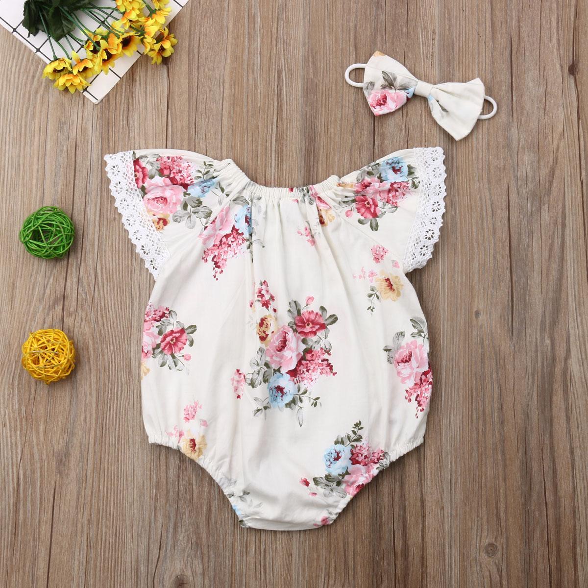 Bebê recém-nascido Meninas Bodysuits Outfits Princesa bonito Macacões florais roupa Headband Define infantil Bebê pequeno Costumes
