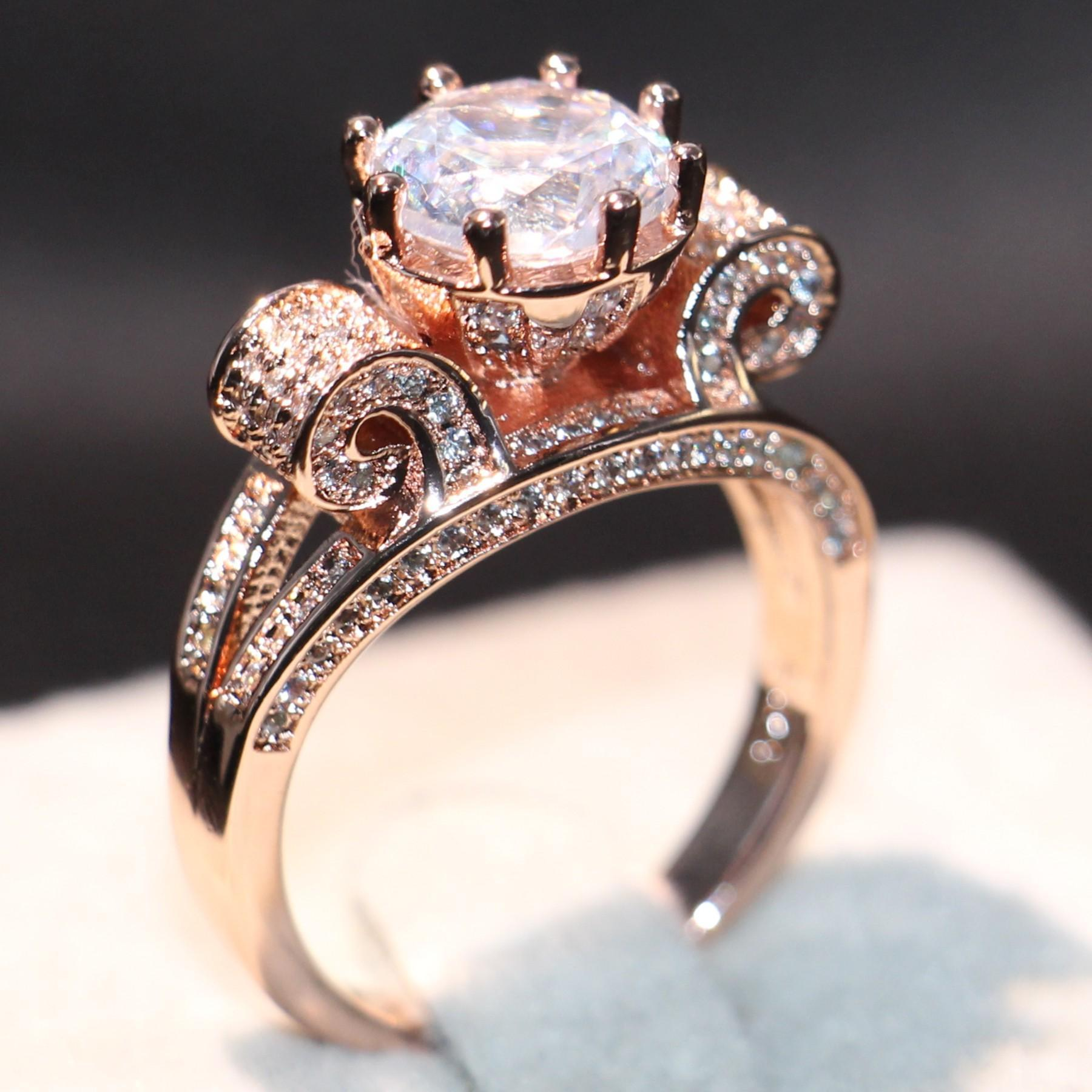 4af358b66b60c 2019 Brand Desgin New Arrival Luxury Jewelry 3CT 925 Sterling Silver Rose  Gold Filled Round Cut White Topaz CZ Diamond Women Wedding Crown Ring From  ...