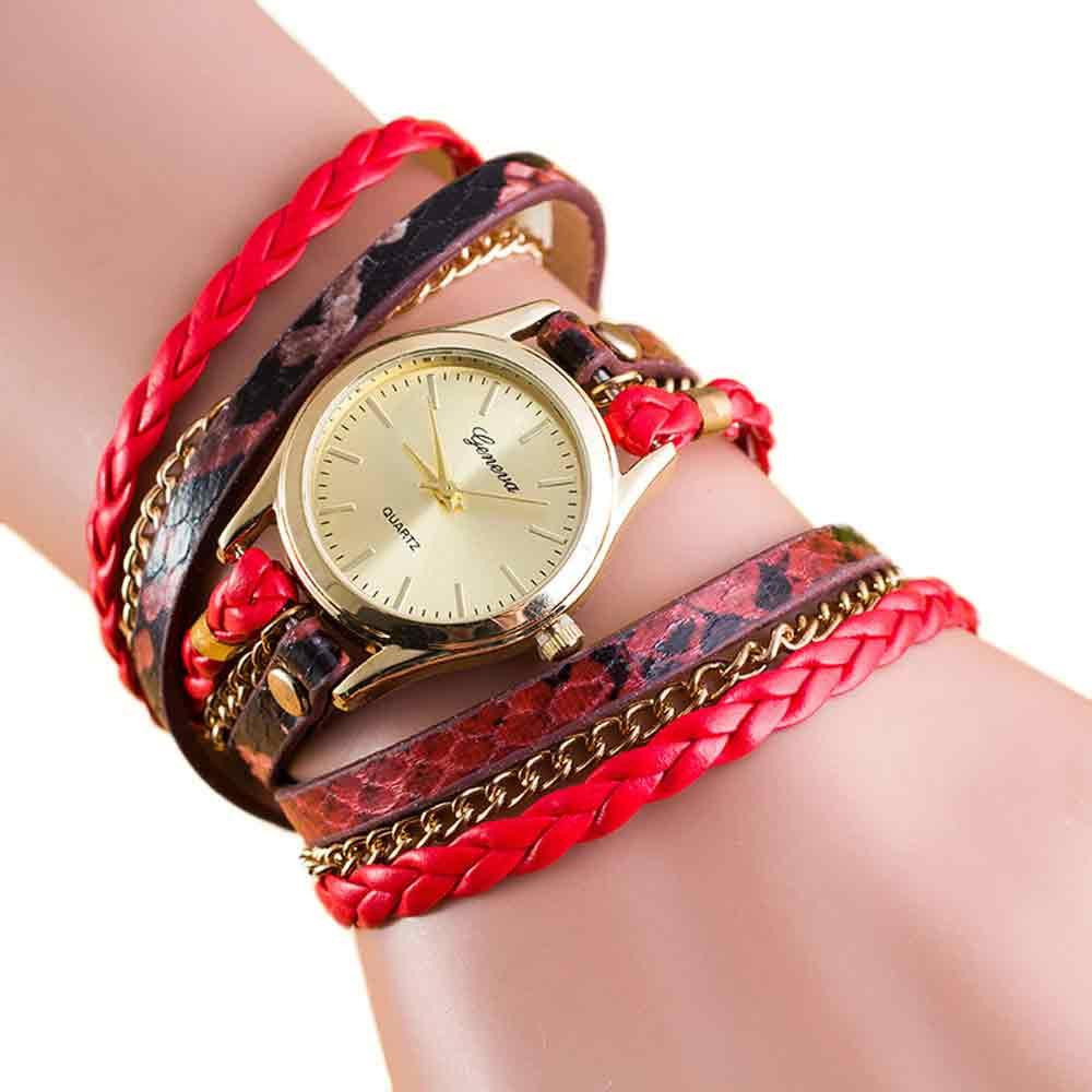 New Fashion Vintage Leopard Print Wrap Around Bracelet Watch Weaving Leather Belt Chain Watch Quartz Wristwatch Clock Relogio #S