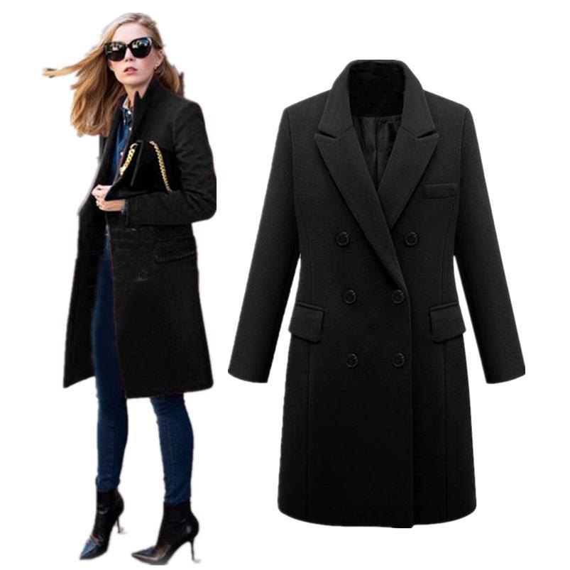 690dfae8015d 2019 Coat Women Winter 2018 Long Sleeve Coat Button Woolen Jacket Work  Office Women Clothes Warm Slim Girl #N28 From Karel, $63.47 | DHgate.Com