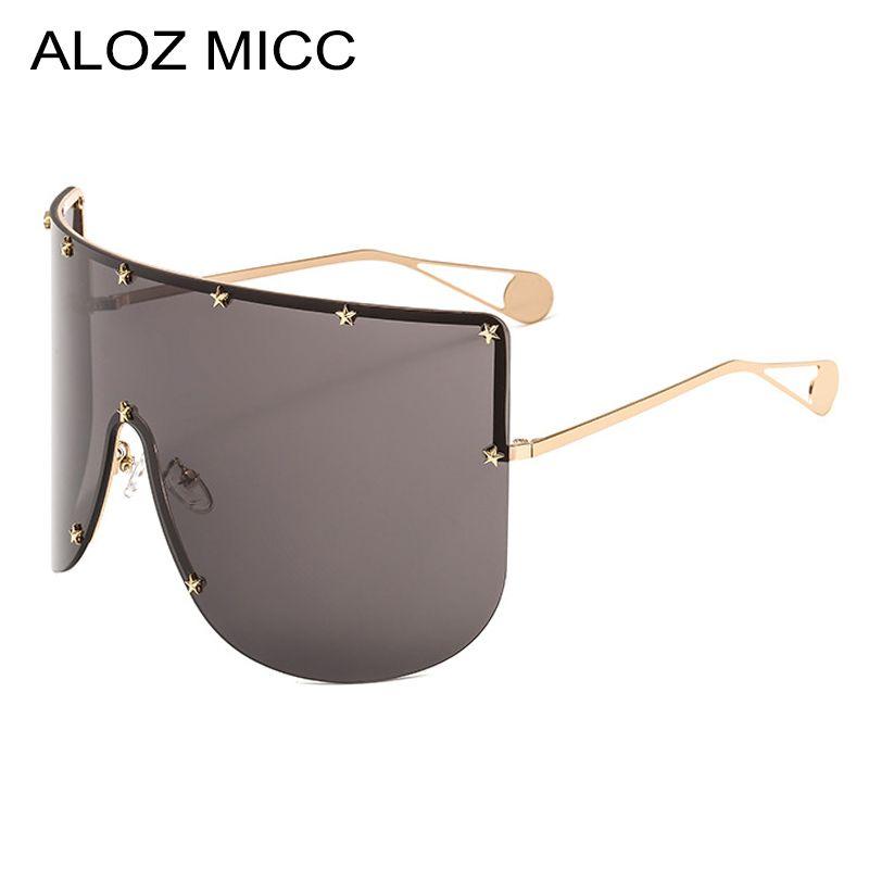 90b2b8555e4dd ALOZ MICC Women New Oversized Sunglasses Men 2019 Brand Designer Half Frame  Sunglasses Women Windproof Visor Goggles Eyewear A462 Cheap Sunglasses Mens  ...