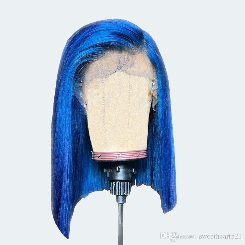 Blue Color Short Bob Style Synthetic Lace Front Wig Natural Hairline Heat Resistant Fiber 3 Inch Side Part Cosplay Party Wigs For Women