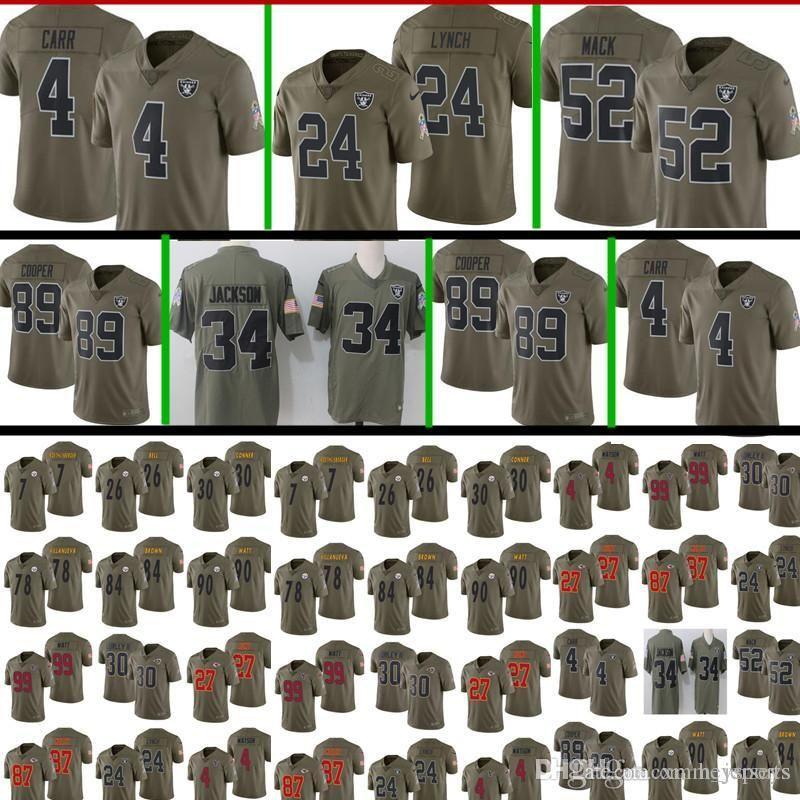 new york 9d835 48571 2017 Salute to Service Oakland Raiders Jersey Mens 24 Marshawn Lynch 4  Derek Carr 52 Khalil Mack 89 Amari Cooper Football Jerseys