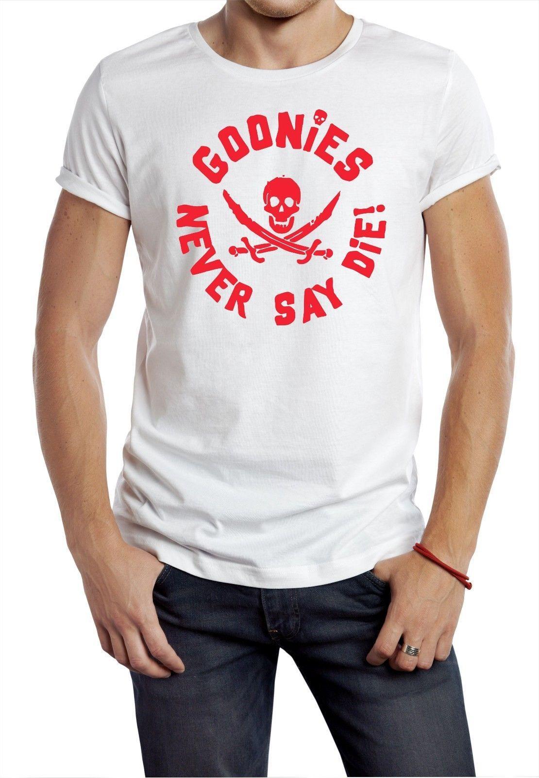 e9da48d2a Compre Goonies Camiseta Escudo Redondo Cráneo 80 S Película Retro Clásico  Fragmento Mikey Dorado Rojo Cool Casual Orgullo Camiseta Hombres Unisex A   13.91 ...