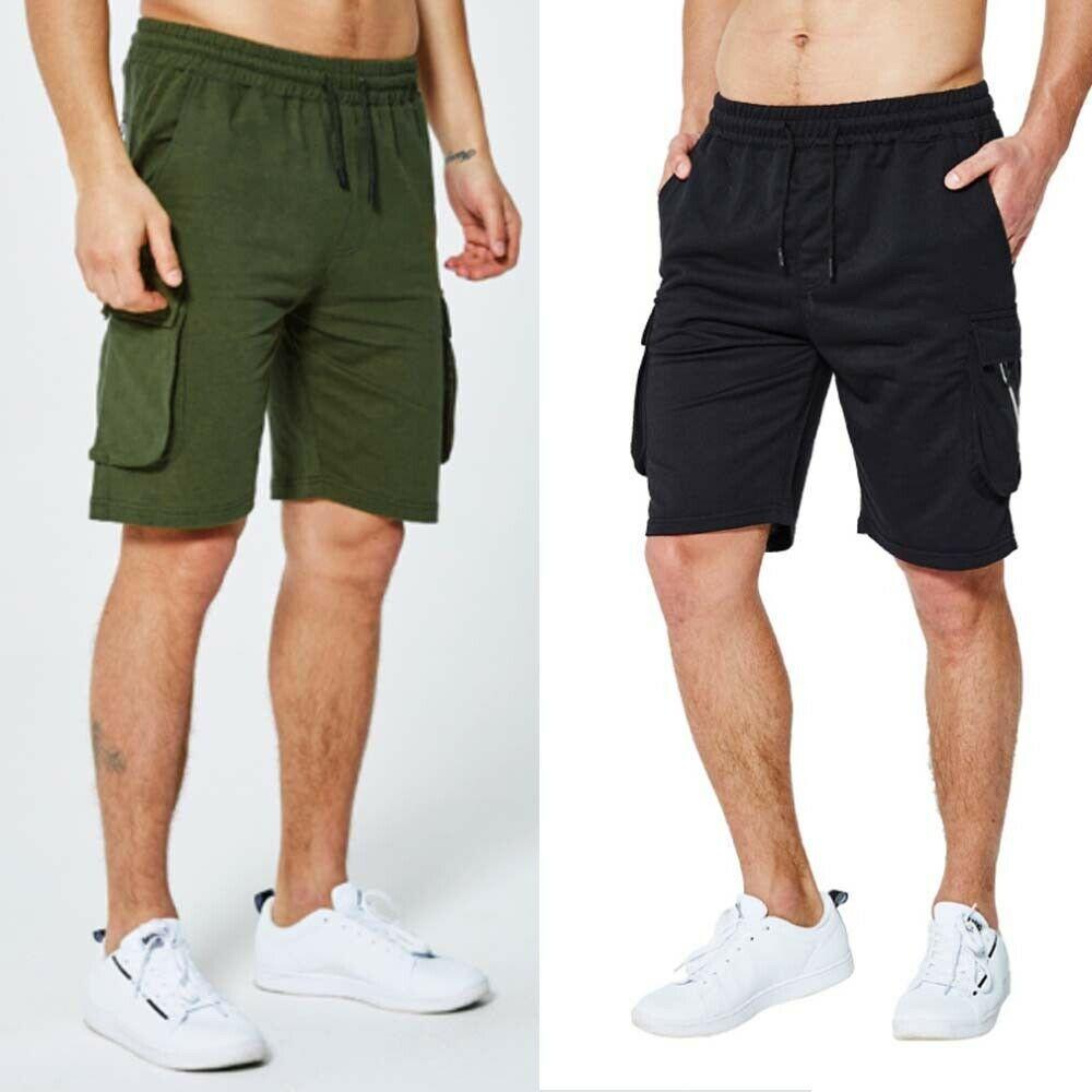 Mens Summer Knee Length Elasticated Waist Cargo Combat Shorts Size M-XXXL