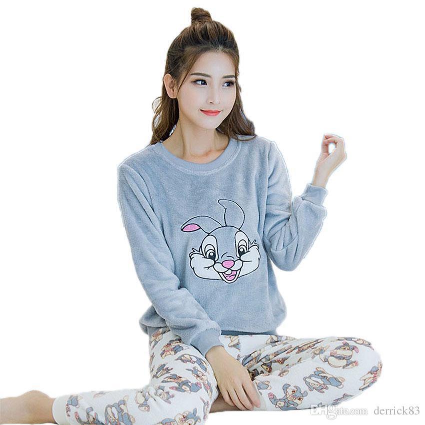d5ba7d18f9b1c 2019 Wholesale Animal Cartoon Pajamas Pyjama Femme Spring Autumn Winter  Women Pyjama Set Cotton Pajamas Home Clothes For Women From Derrick83, ...