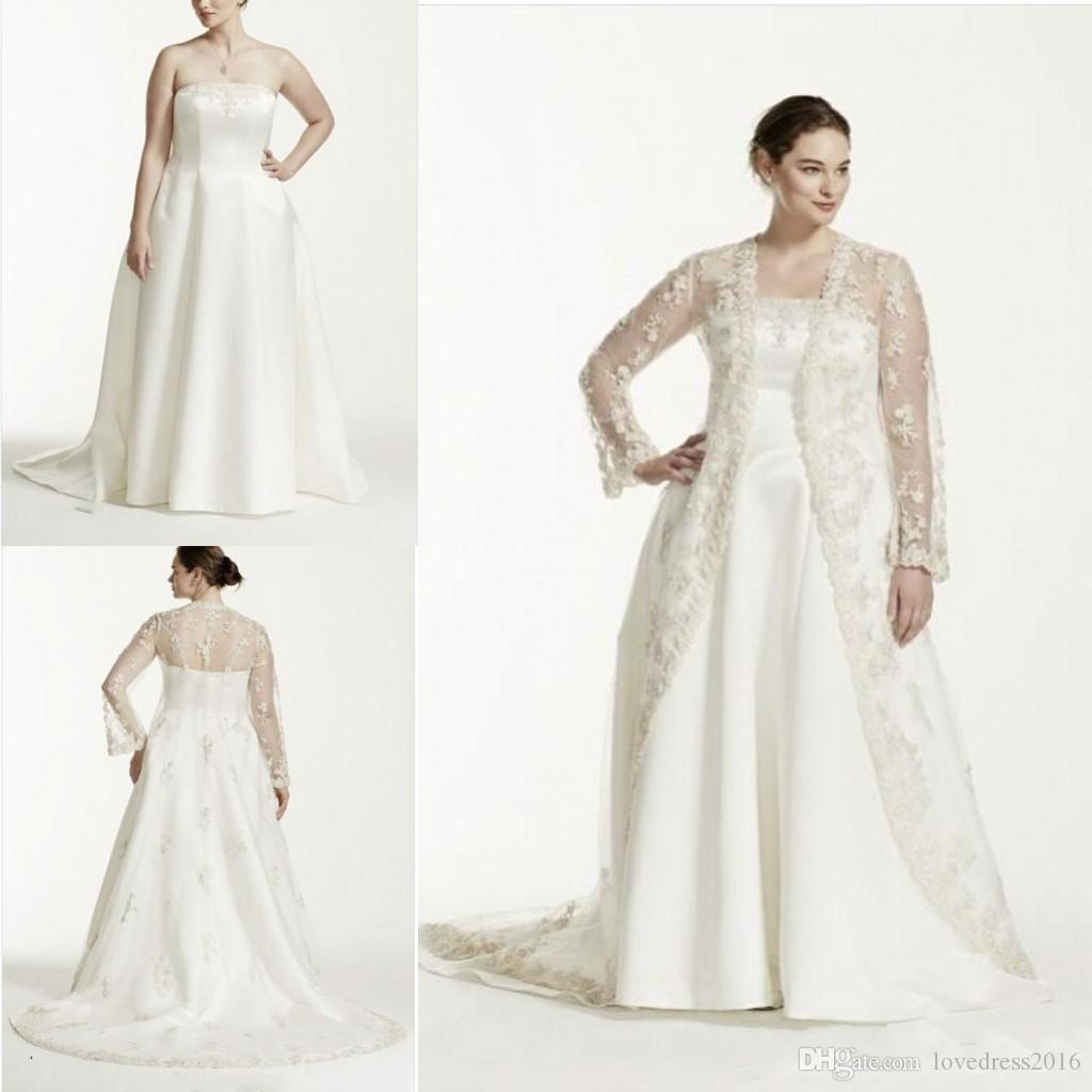 Hot Sale 2018 Satin A Line Plus Size Wedding Dresses with Lace Long Sleeves  Jackets Bridal Wedding Gowns