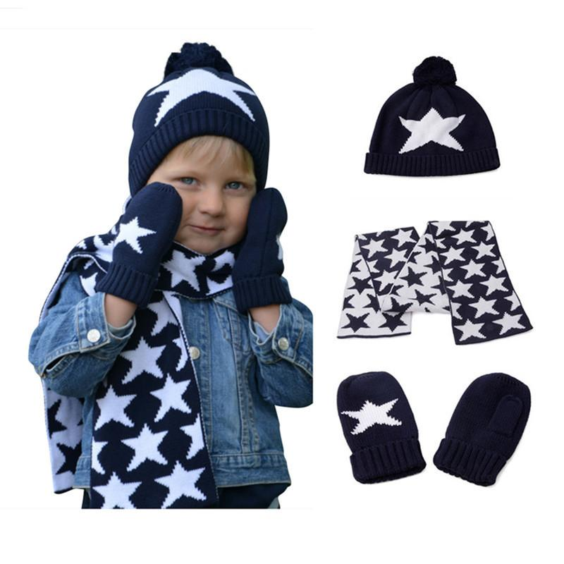 f8a27939 2019 Boys Girls Knitted Hat Scarf And Glove Set Children Fall Winter ...