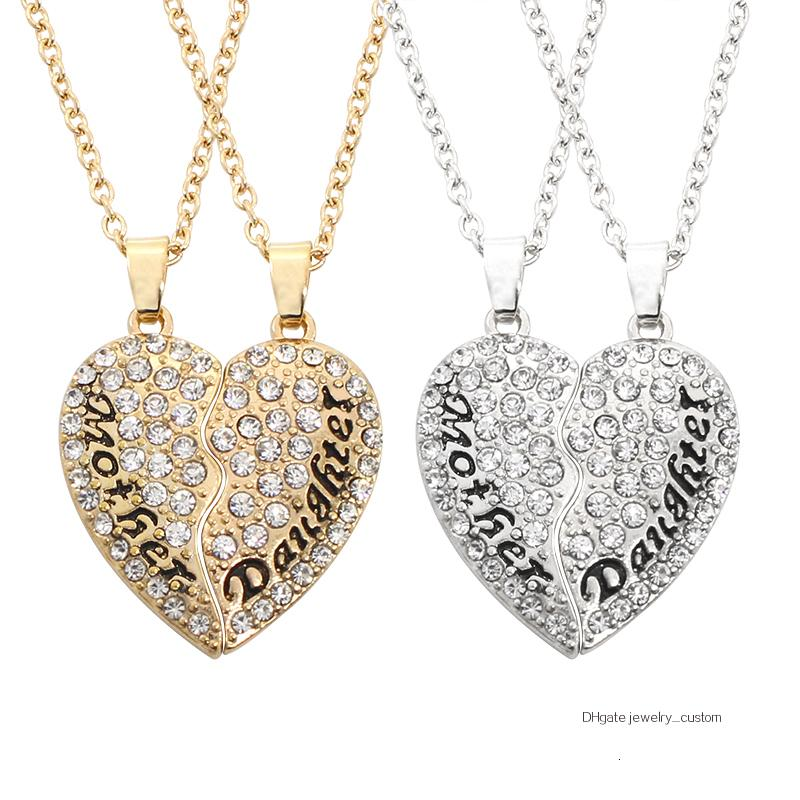 2 Pcs/set Fashion Full Rhinestone Broken Heart Necklace Women Mother Daughter Family Love Jewelry Mother's Day Gifts Collier