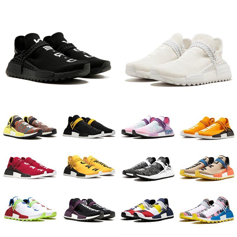 newest 4c2da 98ad4 Acheter 36 47 NMD Human Race Trail Chaussures De Course Hommes Femmes  Pharrell Williams HU Runner Jaune Noir Blanc Rouge Vert Gris Bleu Sport  Sneaker De ...