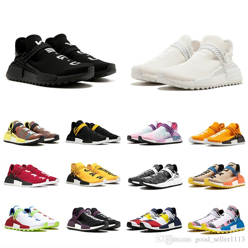 buy online 2b67a b449f With Box 36 47 Human Race Trail Running Shoes Men Women Pharrell Williams  HU Yellow Blank Canvas Red Equality Nerd Sports Runner Sneakers Shoes Shop  Free ...
