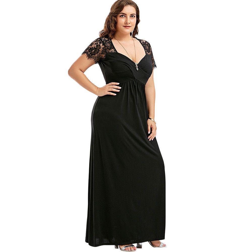 Maxi Dress Women Plus Size 5xl Long Sleeve Lace Long Evening Party ...