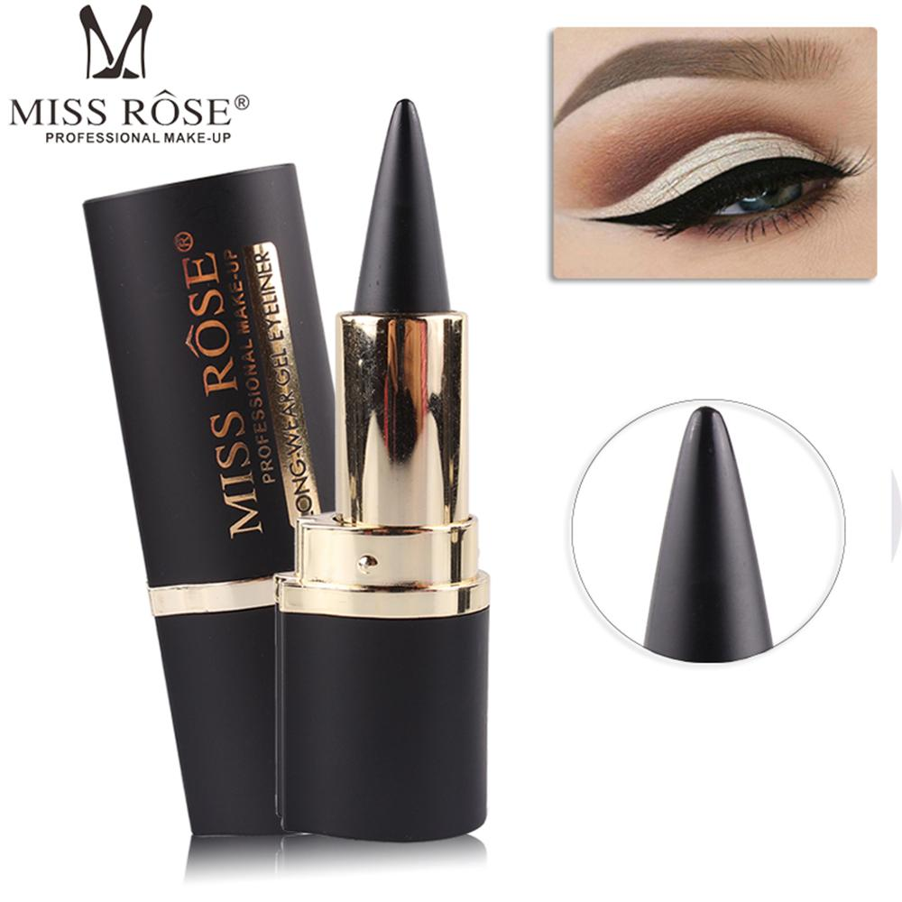 MISS ROSE Noir Eyeliner Stick Maquillage Lisse Solide Épaisse Eyeliner Gel Imperméable À L'eau Naturel Smoky Eye Liner Crayon Gel