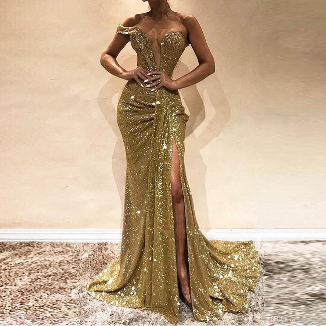 Sexy Gold Mermaid Evening Dresses Long High Side Split Sparkly Sequins Prom Party Gowns Deep V Neck One Off Shoulder Glitter Celebrity Dress