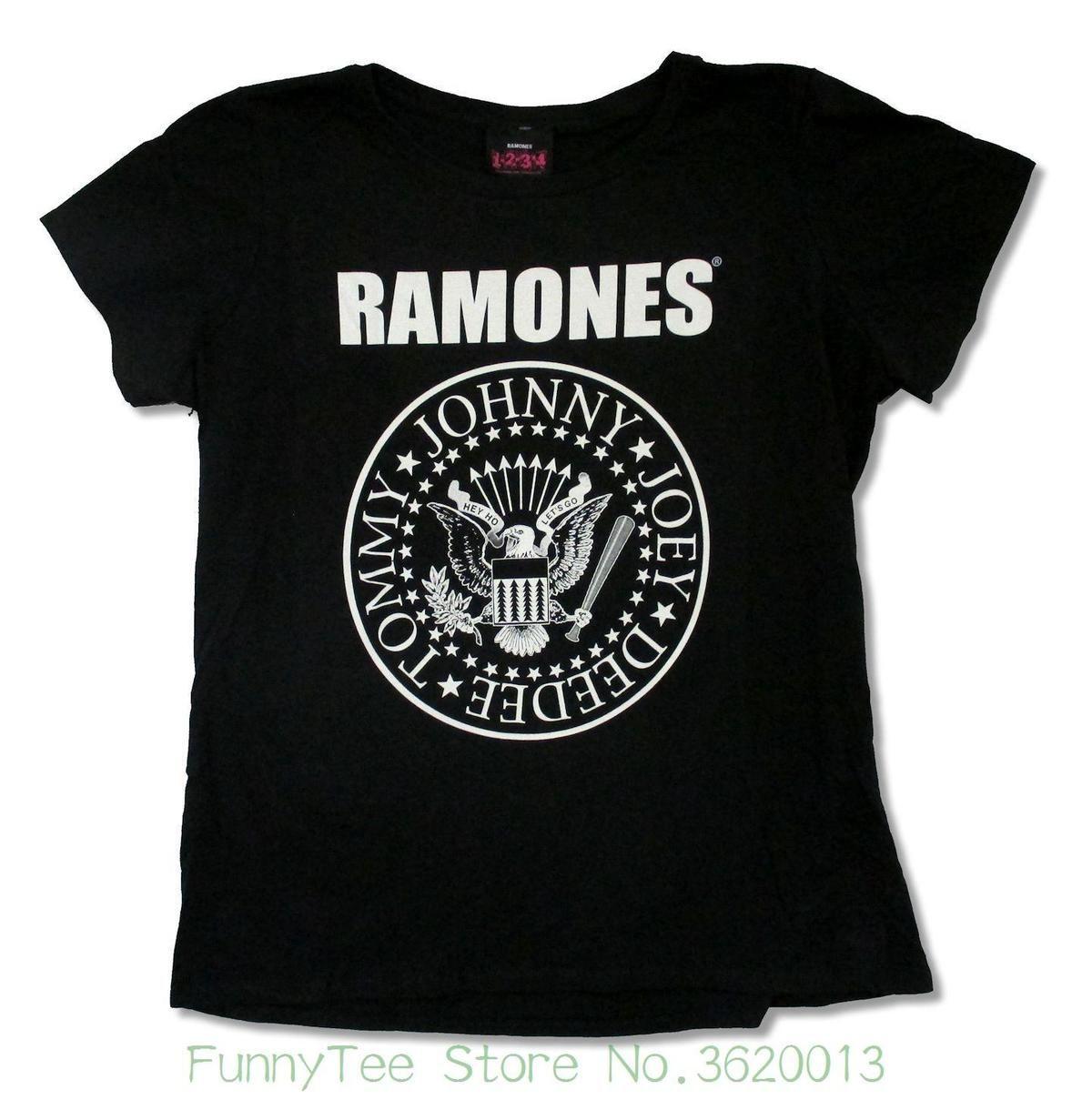 e73c357af72d63 Großhandel Das T Stück Der Frauen Das Ramones Siegel Jumbo Mädchen Junioren  Schwarzes T Shirt Neues Offizielles Punk Lustiges Marken Kurzes T Shirt Von  ...