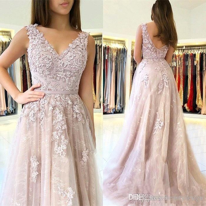 49a18b36793 2019 Lilac V Neck Evening Dresses A Line Low Zipper Back Appliques Tulle  Floor Length Mother Dress Formal Prom Gowns Plus Size BC1726 Ladies  Clothing Little ...