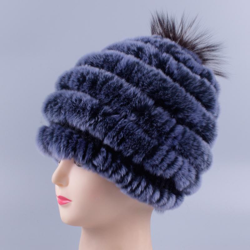 fa49e01a498 Rabbit Fur Hat Female Winter Rex Rabbit Fur Woven Inlaid Round Hat Winter  Thickening Ear Protection Warm Black Beanie Crochet Beanie From Ancient88