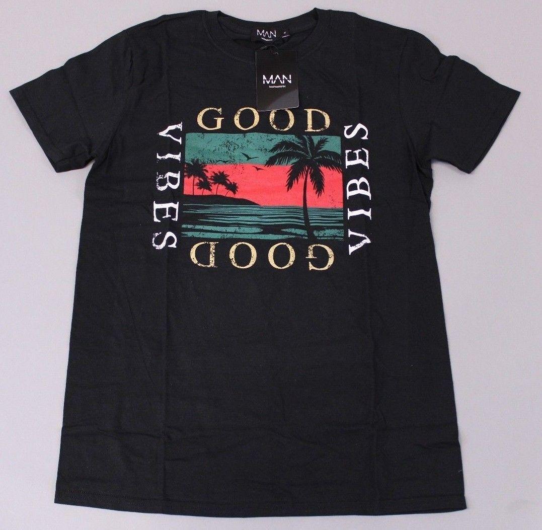 722db77a918f4 Boohoo Men's Good Vibes Palm Graphic Print S/S T-Shirt AH7 Black Medium NWT  2018 New Men tee 2018 fashion T-Shirts