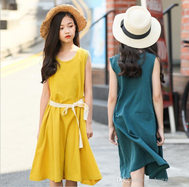 74c14c898ba 2019 Big Girl Cotton Linen Dresses Teenager Fashion Sleeveless Casual Dress  Summer Junior Korean Vest Dress Kids Clothing From Cnbestwholesle