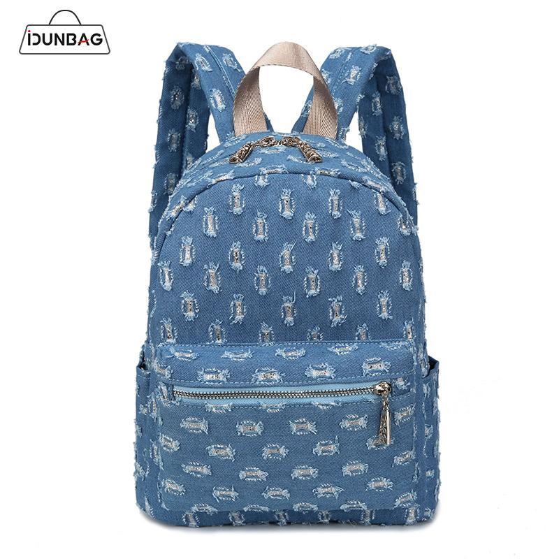 62b4d3cb8bac 2019 FashionIDUNBAG Blue Jean Backpack Women Backpacks Denim School Rucksack  For Girls Hollow Out Shoulder Bags Travel Sac A Dos Femme 2018 Swiss Gear  ...