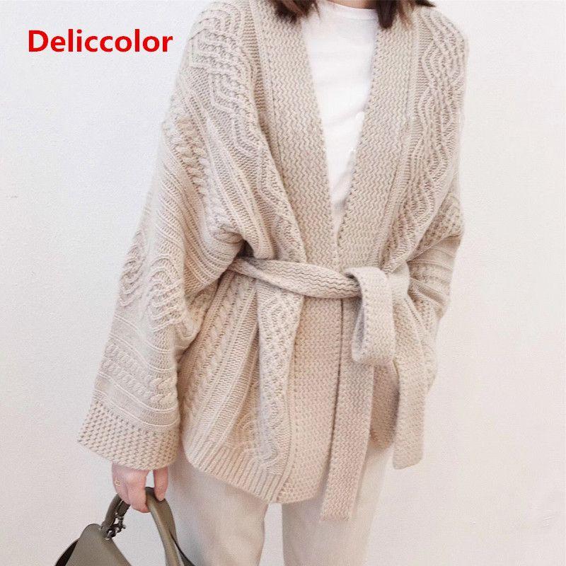 3df0e5bb010 18 Autumn Winter Uniform code Cardigan sweater Fashion Womens Knitted  sweater belt loose Female oversized Cardigan