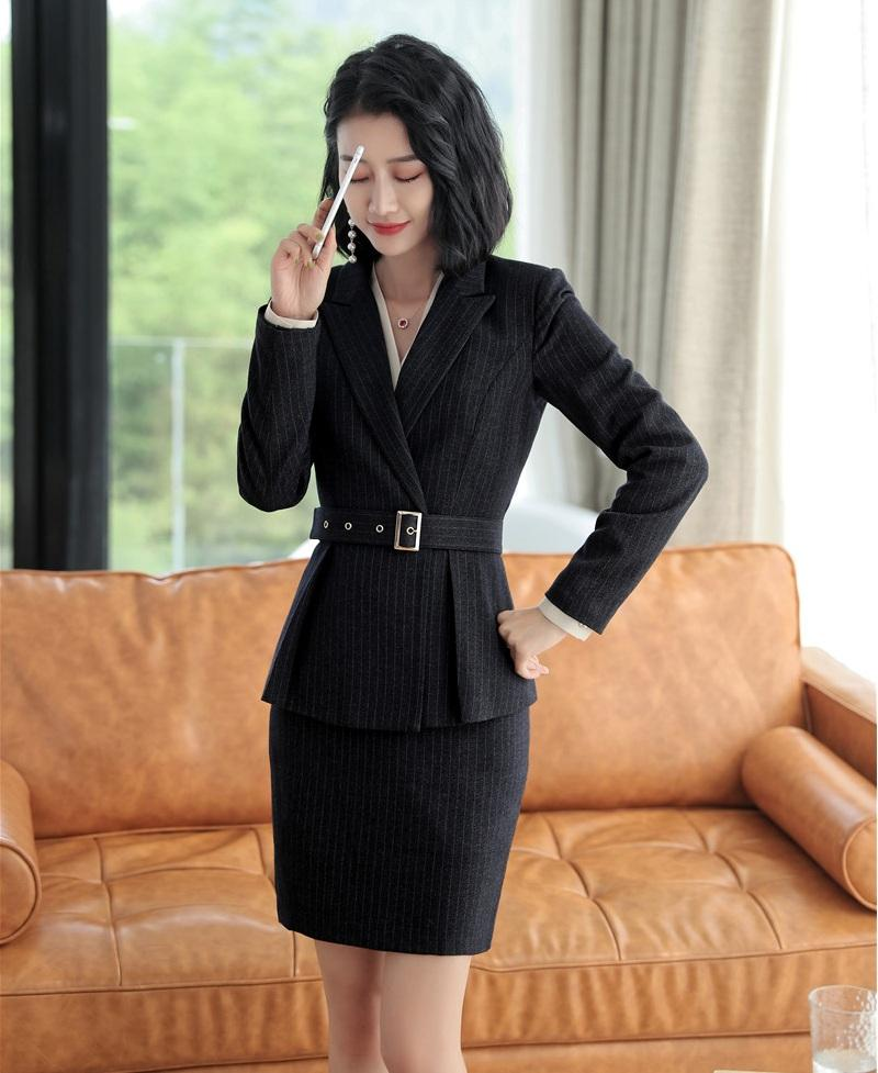 Compre Moda Formal Blazer Negro Mujeres Trajes De Negocios Con Falda Y  Conjuntos De Chaqueta Damas Ropa De Trabajo Uniformes De Oficina Estilos A   77.09 Del ... 6edd67eb9e0d