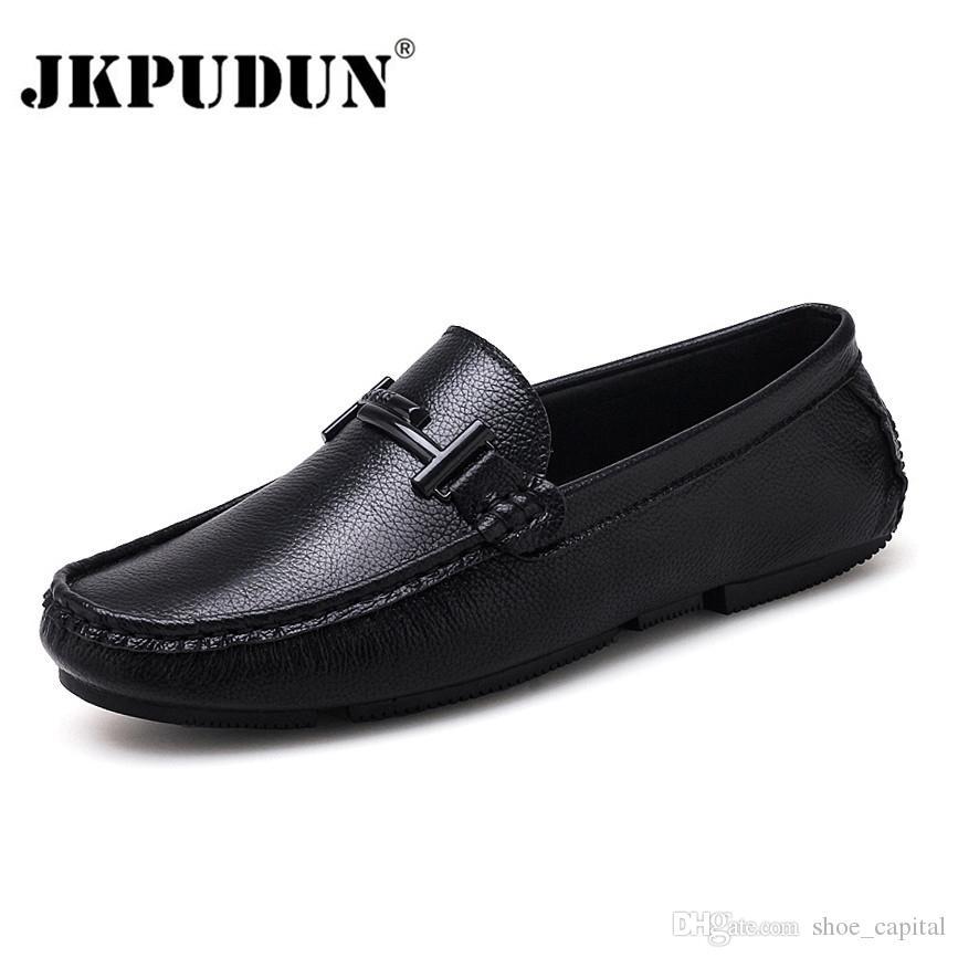 bbf85cf43393c Compre JKPUDUN Zapatos Para Hombre Italianos Marcas Casuales Slip On Zapatos  De Lujo Formales Hombres Mocasines Mocasines Cuero Genuino Negro Conducir  ...
