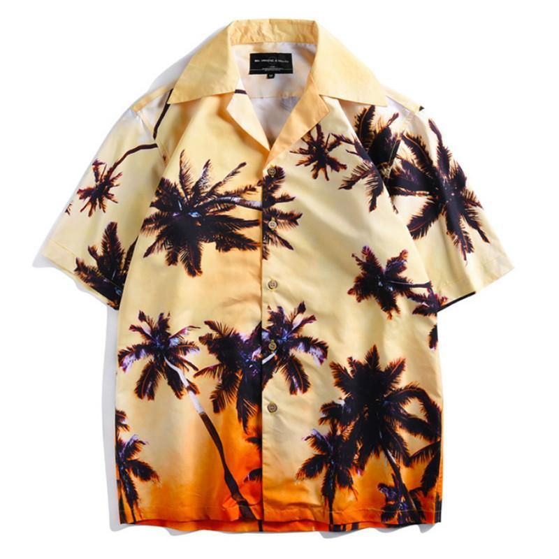 899e0b1c 2019 Coconut Tree Print Hawaii Beach Shirts Men Summer Hawaiian ...