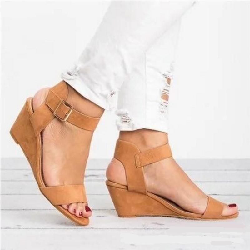 1dbf5494 Compre Plataformas De Cuña Sandalias De Gladiador Hebilla Zapatos De Correa  Para Mujer Zapatos Casuales De Verano Peep Toe Chanclas Tamaño De Zapatilla  34 ...
