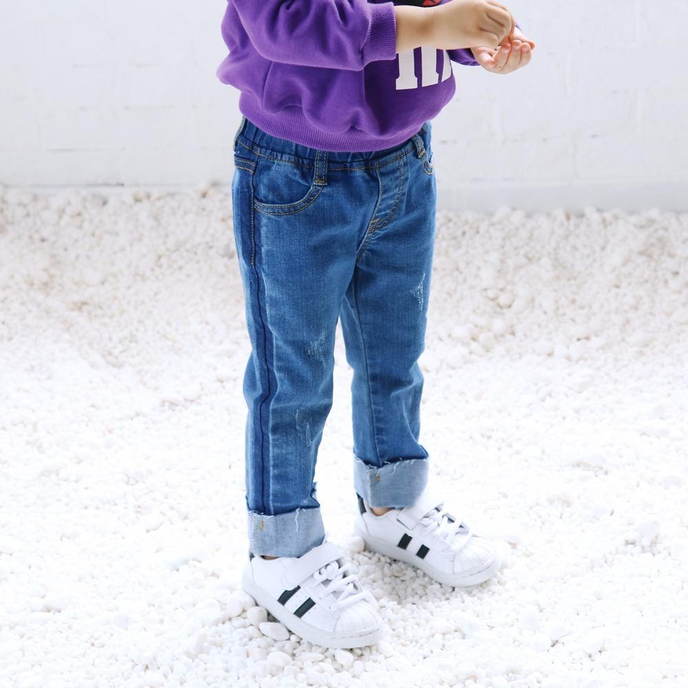 3494aa07 Autumn Spring Boys Girls Jeans Kids All Match Denim Blue Fashion Trousers  Baby Casual Holes Clothes Children Clothing 2 6 Years Boys Jeans And Shirt  Skinny ...