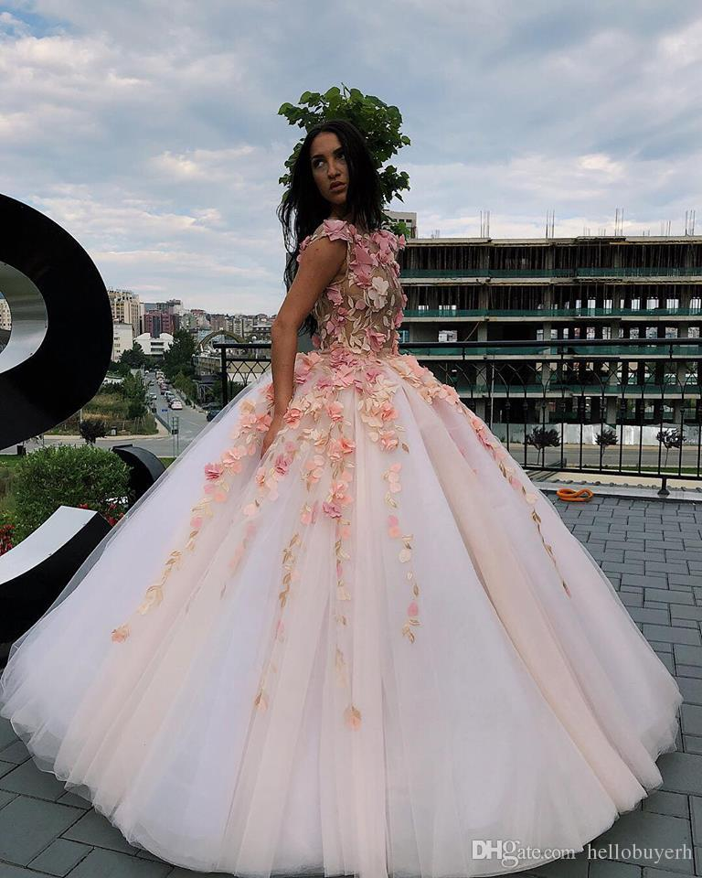 6fb7ca8b9862 Pink Tulle Ball Gown Plus Size Prom Dresses Long Sheer Top Sexy High Neck  African Nigerian Quinceanera Dresses 2019 Party Evening Gowns Short Sexy  Prom ...