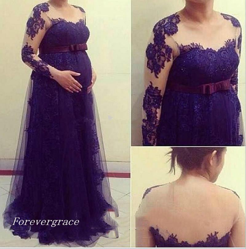 ebe2f2857fa59 2019 Maternity Clothes Evening Dress Long Sleeves Lace Appliques Formal  Holiday Wear Prom Party Gown Custom Made Plus Size Purple Dresses Special  Occasion ...