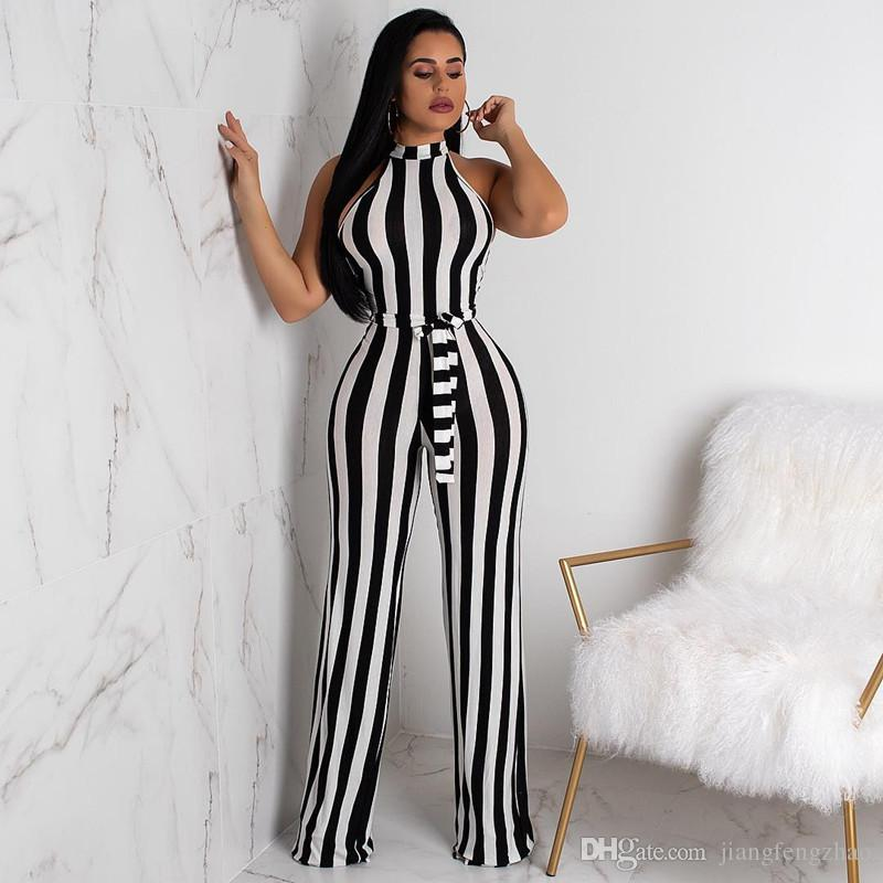 242f7432c3c8 2019 Black White Vertical Striped Sexy Jumpsuit Women Off The Shoulder  Sleeveless Wide Leg Romper Elegant Stand Collar Sashes Overall From  Jiangfengzhao