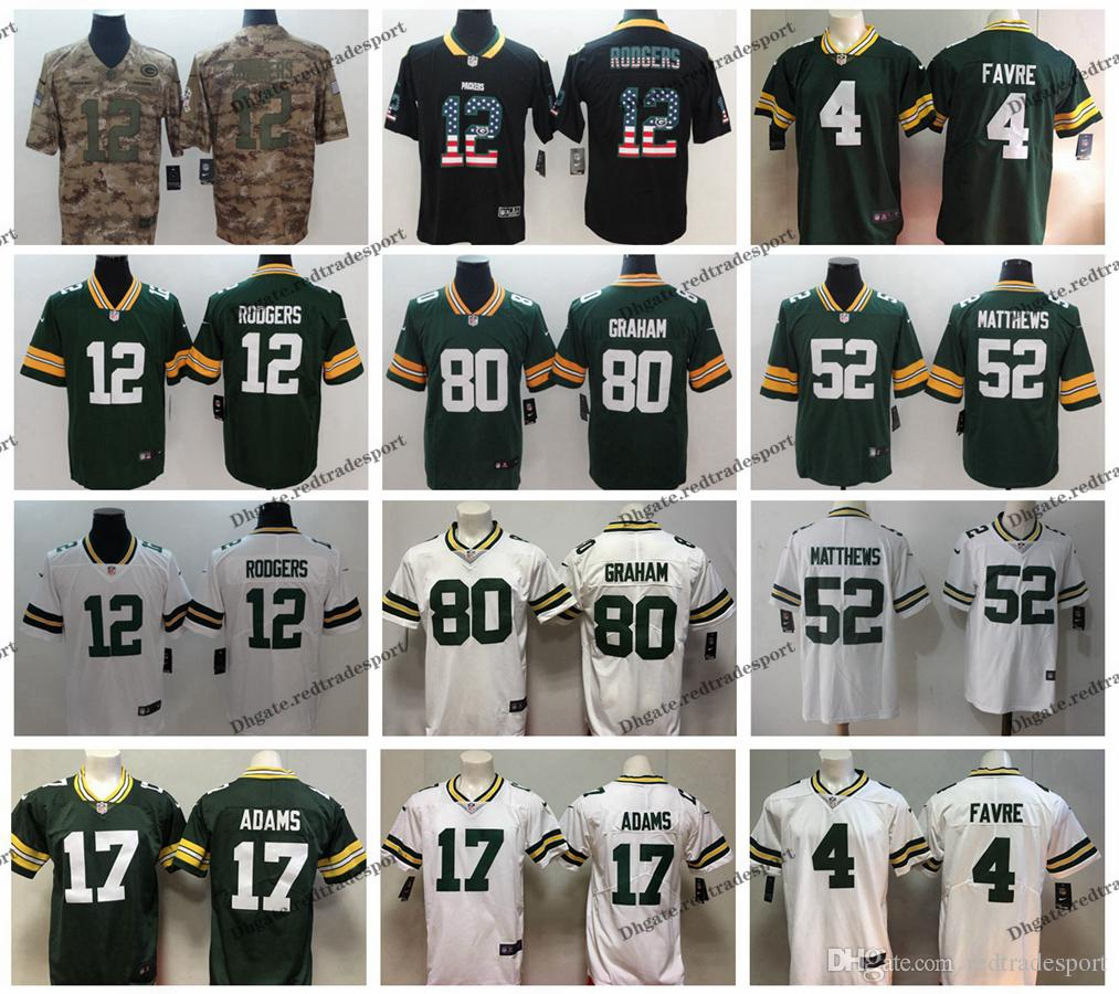 new product 89e66 34b5a 2019 Camo Salute to Service Green Bay 12 Packers Aaron Rodgers Football  Jerseys 52 Clay Matthews 80 Jimmy Graham Davante Adams 4 Brett Favre