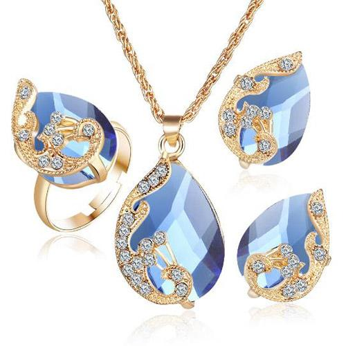 Necklace earrings ring suit women wholesale gold plated Austrian crystal droplets peacock three-piece suit a pendant
