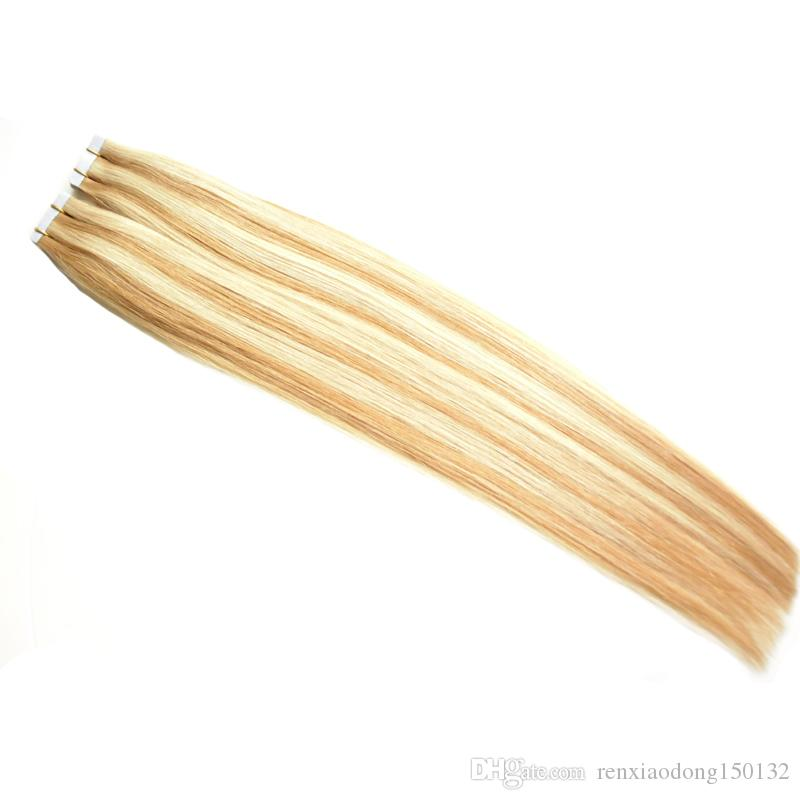 blonde Tape In Human Hair Extensions 100g Double Drawn European Remy Hair Extensions 40 Pieces Tape on Extensions
