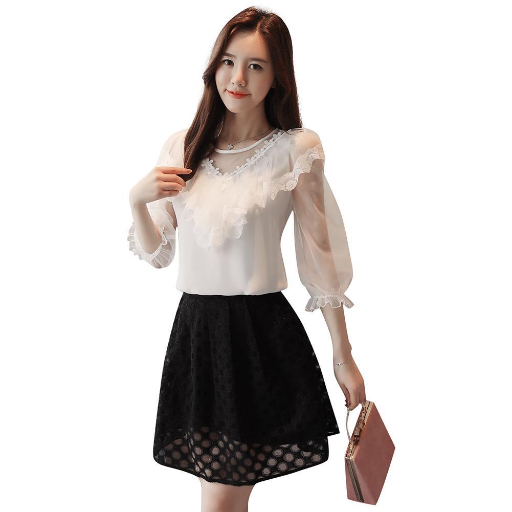 04669adbd94da Compre 2019 Nuevas Mujeres Blusa De Gasa Con Volantes Del O Cuello De La  Linterna Mangas Camisa De Verano Elegante Camisa Casual Top Blanco Coreano  Moda ...