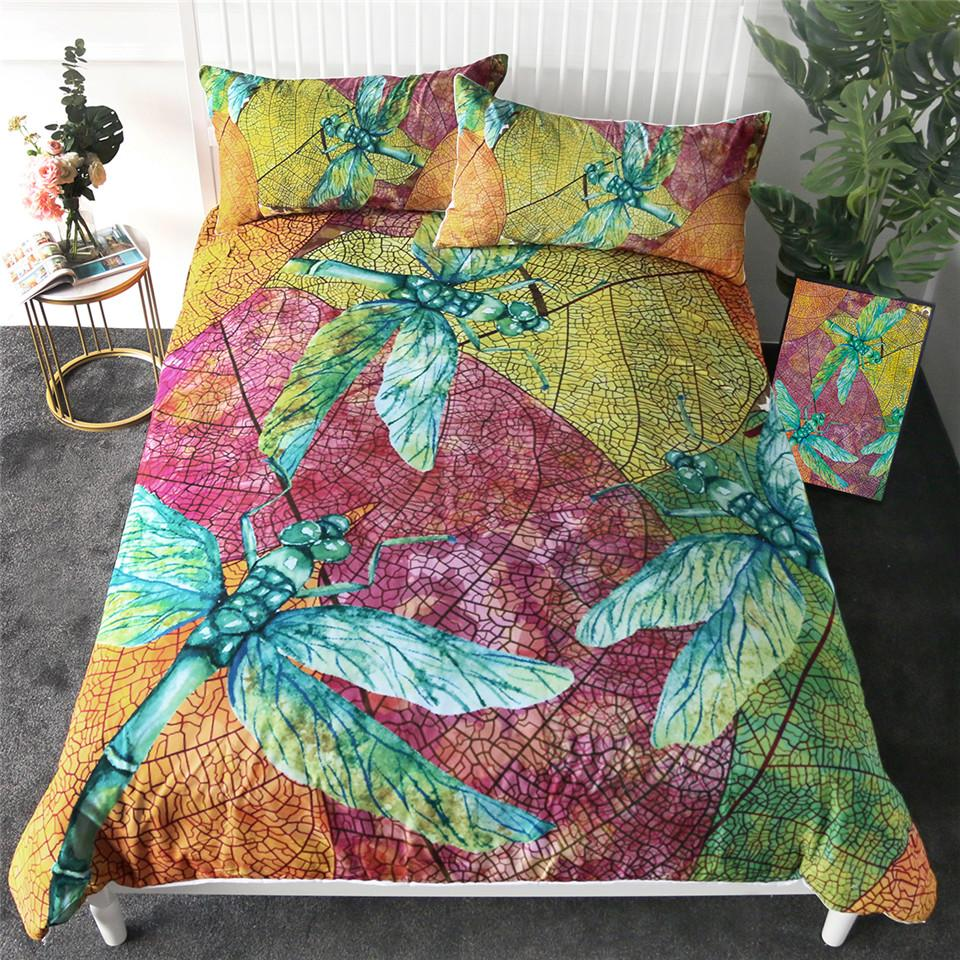Dragonfly Bedding Set Leaf Stems Duvet Cover Set Colorful