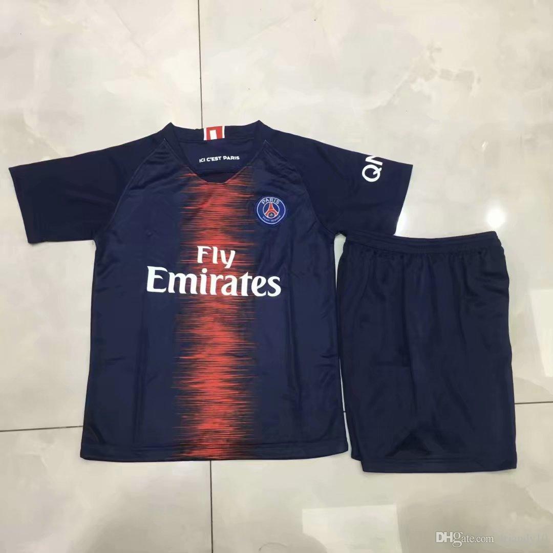 34fd9c6782b63 Compre 201819 Playeras De Fútbol Para Niños PSG Paris MBAPPE CAVANI .
