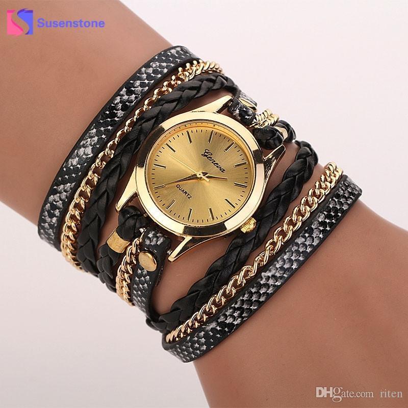53800c356b3 Acheter Mode Femmes Bracelet Montre Vintage Horloge Quartz En Cuir Tressé  Wind Wrap Montre Bracelet Analogique Dames De Luxe Robe Montres Saati De   26.5 Du ...