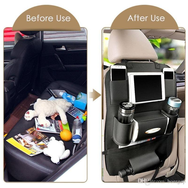 Car Seat Back Anizer And Ipad Mini Holder Universal Use As Backseat For Kids Storage Bottles Tissue Box Toys Black Color
